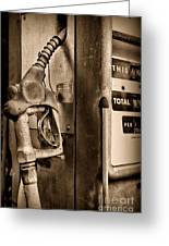 Vintage Gas Pump Showing Its Age Greeting Card