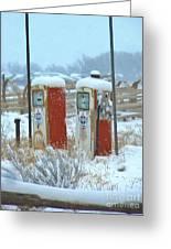 Vintage Gas Pumps Greeting Card