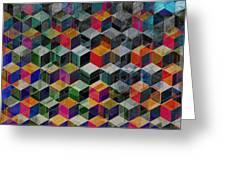 Vintage Geometric Cubes Greeting Card