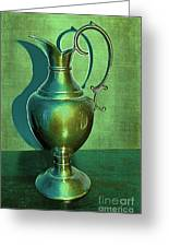 Vintage Green Pewter Pitcher Greeting Card