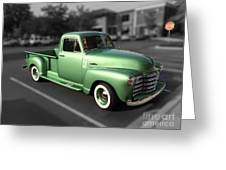 Vintage Green Chevy 3100 Truck Greeting Card