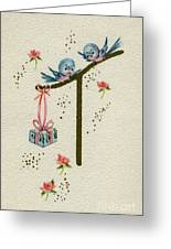 Vintage Greeting. Baby Bluebirds Bring Gift For New Infant Greeting Card