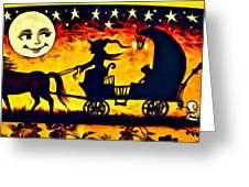 Vintage Halloween Scene Greeting Card