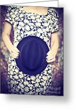 Vintage Hat Flower Dress Woman Greeting Card