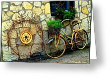 Antique Store Hay Rake And Bicycle Greeting Card