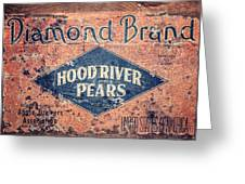 Vintage Hood River Pear Crate Greeting Card