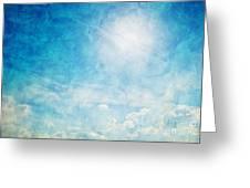 Vintage Image Of Sunny Blue Sky Greeting Card