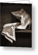 Vintage Lace Boots In Sepia Greeting Card