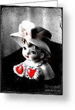 Vintage Lady Head Vase - Black And White With Red Greeting Card
