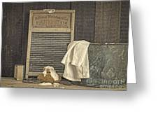 Vintage Laundry Room II By Edward M Fielding Greeting Card
