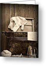 Vintage Laundry Room In Sepia Greeting Card