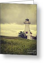 Vintage Lighthouse Pei Greeting Card by Edward Fielding