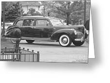 Vintage Lincoln Limo Black N White Greeting Card