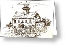 Vintage Lines Of East Point Lighthouse Greeting Card