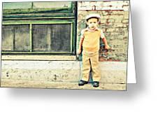 Vintage Little Boy Greeting Card by Stephanie Grooms