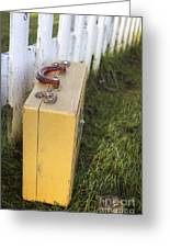 Vintage Luggage Left By A White Picket Fence Greeting Card
