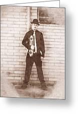 Vintage Male Skateboarder Greeting Card