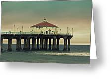 Vintage Manhattan Beach Pier Greeting Card