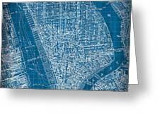 Vintage Manhattan Street Map Blueprint Greeting Card