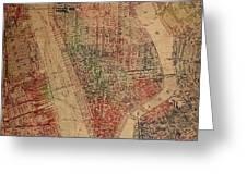 Vintage Manhattan Street Map Watercolor On Worn Canvas Greeting Card