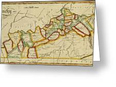 Map Of Kentucky 1812 Greeting Card