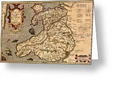 Vintage Map Of Wales 1633 Greeting Card