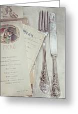 Vintage Menu Cards Knife And Fork Greeting Card