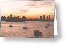Vintage Miami Skyline Greeting Card