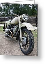 Vintage Military Motorcycle Greeting Card