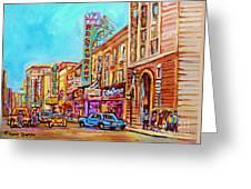 Vintage Montreal Street Saint Catherine Street Downtown Summer City Scene Carole Spandau Greeting Card