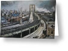 Vintage New York City Brooklyn Bridge Greeting Card