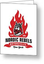 Vintage Nordic Rebels Motorcycles Greeting Card