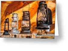 Vintage Oil Lanterns Greeting Card by Paul Freidlund