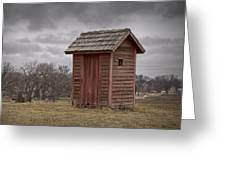Vintage Outhouse Behind A Historical Country School In Southwest Michigan Greeting Card