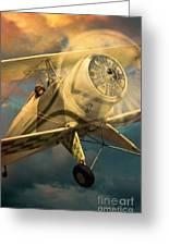 Vintage Plane In Flight Greeting Card