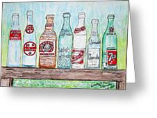 Vintage Pop Bottles Greeting Card