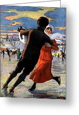 Vintage Poster Couples Skating At Christmas On Frozen Pond Greeting Card