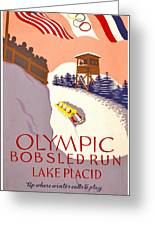 Vintage Poster - Olympics - Lake Placid Bobsled Greeting Card