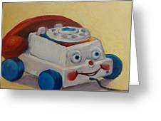 Vintage Pull Toy Series Phone Greeting Card by Kelley Smith