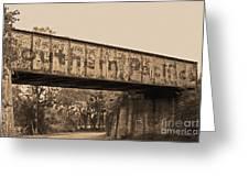 Vintage Railway Bridge In Sepia Greeting Card