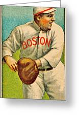 Vintage Red Sox Greeting Card by Benjamin Yeager