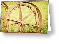 Vintage Rusty Wheel Greeting Card by Lesley Rigg