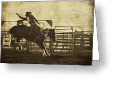 Vintage Saddle Bronc Riding Greeting Card