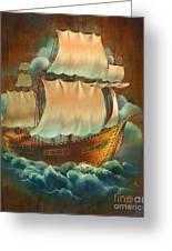 Vintage Sail On Wood Greeting Card