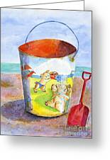 Vintage Sand Pail- 3 Pigs At The Beach Greeting Card by Sheryl Heatherly Hawkins