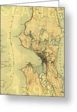 Vintage Seattle Map Greeting Card