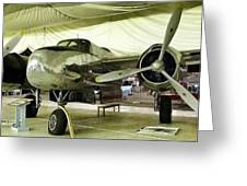 Vintage Silver Bomber Airplane Greeting Card