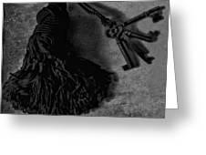 Vintage Skeleton Keys_tassled Bw Greeting Card