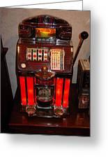 Vintage Slot Machine 25 Cents Greeting Card