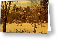 Vintage Snow Blossoms Greeting Card